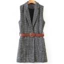 Womens Vest Casual Houndstooth Pattern Slim Fitted Tunic Lapel Collar Sleeveless Woven Vest with Belt