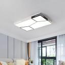 Iron Square/Rectangular Flush Mount Lamp Modern LED Splicing Ceiling Light in Black and White