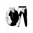 Mens 3D Co-ords Unique Cat Ying-Yang Figure Galaxy Brush Stroke Pattern Long Sleeve Hoodie Ankle Length Tapered Pants Slim Fit Jogger Co-ords