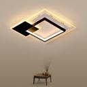 Square/Round LED Flush Ceiling Light Creative Modern Iron Black/White Flush-Mount Light in Warm/White Light