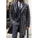 Retro Mens Coat Houndstooth Pattern Button down Mid-Length Slim Fit Long Sleeve Lapel Collar Woven Coat
