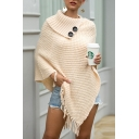 Fine-Knitted Shawl Knit Top Solid Color Tassel Hem Button Detail Rolled Asymmetrical Turtleneck 3/4 Sleeves Regular Fitted Pullover Sweater