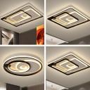 Multi-Round/Square/Rectangle Flush Light Contemporary Acrylic Black Ultrathin LED Ceiling Mount Lamp in Warm/White Light
