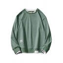 Mens Sweatshirt Trendy Contrast Trim Label Patch Fake Two Pieces Loose Fit Long Sleeve Crew Neck Pullover Sweatshirt