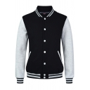 Simple M Letter Printed Single Breasted Pocket Long Sleeve Baseball Jacket For Student