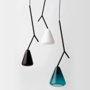 Modern Style Twig Pendant Lamp Iron 1-Light Dining Room Hanging Light with Cone Blue/White/Black Glass Shade