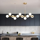 Post-Modern Molecule Island Lighting Amber/White/Smoke Grey Glass 7/9/11 Bulbs Kitchen Bar Pendant Lamp in Black/Gold