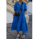 Womens Dress Stylish Solid Color Panel Stand Collar Long Sleeve Slim Fitted Midi A-Line Tiered Dress