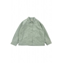 Unique Womens Jacket Solid Color Cord Double Pockets Front Button up Turn-down Collar Loose Fit Long Sleeve Casual Jacket
