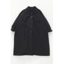 Basic Womens Coat Solid Color Pockets Button Detail Mid-Length Doll Collar Loose Fit Coat in Black