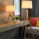 Three-Leg Bedside Floor Reading Lamp Wooden 1 Head Minimalist Floor Light with Drum Fabric Shade