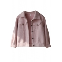 Womens Jacket Trendy Solid Color Lamb Wool Front Pocket Flap Decoration Button up Turn-down Collar Loose Fit Long Sleeve Fur Jacket