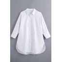 Creative Womens Shirt Solid Color Side Split Curved Hem Tunic Button up Turn-down Collar Loose Fit Long Sleeve Shirt