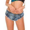 Retro Womens Denim Shorts Frayed Hem Slim Fitted Low Waist Ultra-Short Triangle Shorts with Washing Effect