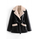 Vintage Womens Jacket Double Pockets Front Tie Waist-Controlled Notched Lapel Collar Loose Fit Long Sleeve Fur Jacket