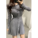 Fashionable A-Line Dress Solid Color Pleated Design Button-down Waist-Banded Round Neck Long-sleeved Slim Fitted A-Line Dress for Women