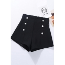 Retro Womens Shorts Plain Stretch A-Line Invisible Zipper Back Double Breasted Wide Leg High Waist Slim Fitted Relaxed Shorts