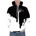 Retro Womens 3D Hoodie Milk Cup Splash Star Print Kangaroo Pocket Drawstring Long Sleeve Slim Fit Hooded Sweatshirt