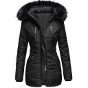 Unique Womens Coat Contrast PU Patchwork Fur-Trimmed Hood Zipper up Mid-Length Slim Fit Long Sleeve Parka