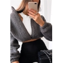 Fancy Women's Coat Plushed Woolen Solid Color Zip Closure Stand Collar Long-sleeved Banded Cuffs Relaxed Fit Woolen Coat