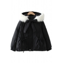 Cute Womens Down Coat Ruched Drawstring Pockets Bow-Tie Fur Hooded Quilted Banded Cuffs Zip Fly Long-sleeved Loose Fit Down Coat