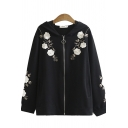 Vintage Womens Jacket Floral Embroidered Zipper Fly Hooded Long-sleeved Regular Fitted Jacket