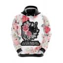 Mens Hoodie Unique Cat Floral Letter Pattern Drawstring Long Sleeve Slim Fit Hooded Sweatshirt