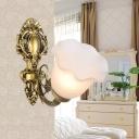 Milk Glass Flower Wall Light Kit Retro Style 1 Head Living Room Wall Mounted Lamp in Bronze