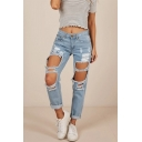 Womens Hot Popular Distressed Ripped Big Hole Light Blue Skinny Fit Jeans