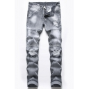 New Fashion Bleach Washed Rolled Cuff Distressed Ripped Mens Slim Stretch Fit Light Grey Jeans