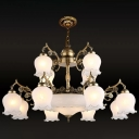 Opal Frosted Glass Bronze Ceiling Pendant 2-Tiered Floral 15 Heads Traditional Chandelier Lamp