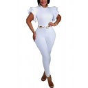 Unique Womens Jumpsuit Plain Mock Neck Skinny Fitted Short Butterfly Sleeve Jumpsuit