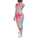 Womens Jumpsuit Chic Tie Dye Letter Embroidered Finger Holes Zipper Front Mock Neck Skinny Fitted Long Sleeve Jumpsuit