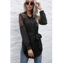 Womens Shirt Stylish Lace Patchwork Tie-Waist Curved Hem Single Breasted Long Sleeve Stand Collar Slim Fit Black Shirt