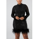 Novelty Womens Dress Feather Sequin Detail Stand Collar Long Sleeve Slim Fitted Short Bodycon Dress