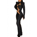Vintage Womens Dress Sequin Decoration Cut-out Front Stretch Long Sleeve Maxi Slim Fitted Stand Collar Bodycon Dress
