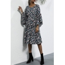 Fancy Women's Blouse Dress Floral Pattern Ruffled Hem Round Neck Flare Cuff Sleeves Regular Fitted Midi Blouse Dress