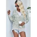 Vintage Womens Hoodie Camouflage Pockets Zipper Fly Drawstring Long Sleeve Slim Fit Hooded Sweatshirt