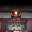 Bohemia Hexagon Ceiling Hanging Lantern 1 Bulb Iron Pendant Light in Copper with/without Beaded Fringe
