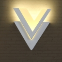 Metal V Shaped Wall Light Minimalistic White LED Wall Sconce Light Fixture in Warm/White Light