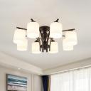 White Glass Black Semi Flush Light Cylindrical 3/6/8 Heads Vintage Ceiling Mount Chandelier for Bedroom