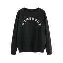 Fashionable Women's Sweatshirt Letter Homebody Print Ribbed Trim Crew Neck Long-sleeved Regular Fitted Sweatshirt