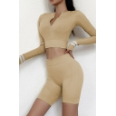 Retro Womens Co-ords Skinny Fitted Shorts Zipper Front Crew Neck Long Sleeve Cropped Tee Yoga Co-ords