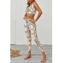 Womens Co-ords Trendy Abstract Leopard Skin Pattern Skinny Fitted Leggings Zipper Front Crew Neck Cropped Sleeveless Tank Top Yoga Co-ords