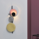 Novelty Nordic LED Wall Sconce Black/Pink/Green Mobile Moon Shaped Wall Lamp with Metal Shade, Warm/White Light