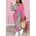 Elegant Women's Set Contrast Color V Neck Long Sleeves Relaxed Fit Cropped Tee Top with High Waist Long Pants Co-ords