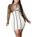 Vintage Womens Dress Tiger Leopard Zebra Skin Print Contrast Panel Thumb Holes Long Sleeve Short Slim Fitted Round Neck Bodycon Dress