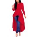 Womens Dress Stylish Plain High-Low Ruffle Hem Maxi Slim Fitted Round Neck Long Sleeve Flare Dress