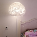 Dome Girls Bedside Floor Lamp Feather 1 Bulb 18