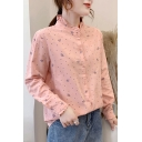 Fashionable Women's Blouse Crown Polka Dot Print Leaf Embroidery Lettuce Trim Button-down Regular Fitted Blouse Shirt